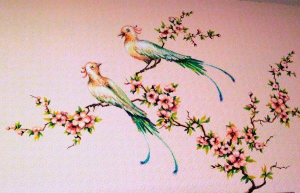 """Роспись на стене""""Райские птички"""""""