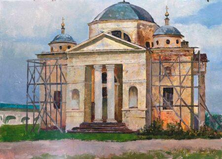 """Картина """"Реставрация Борисоглебского монастыря, Торжок"""" 50х70"""
