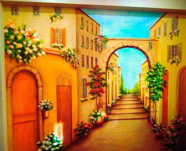 """Роспись на стене""""Городские пейзажи"""""""
