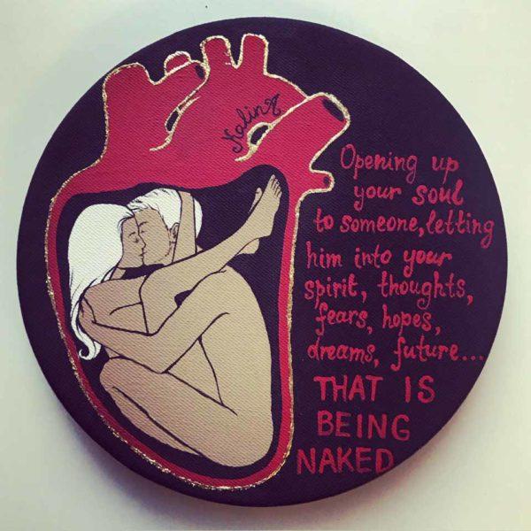 """Картина маслом на холсте """"Naked"""" холст d20 см К.Калина"""