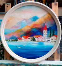 картина дом на берегу