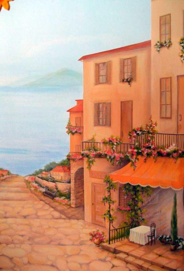 """Роспись на стене """"Рассвет в Италии"""""""