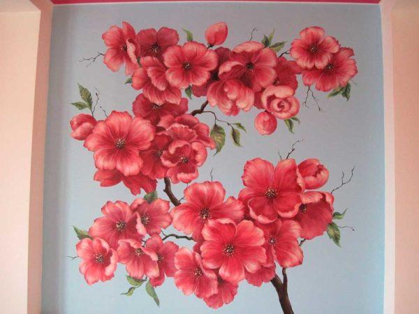 """Роспись на стене""""Весенние цветы"""""""