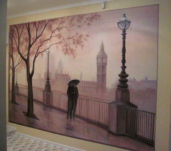 """Роспись на стене""""Дождливый Лондон"""""""
